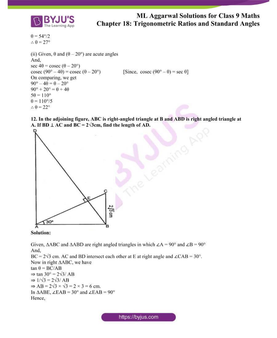 ML Aggarwal Solutions for Class 9 Maths Chapter 18 TR and Standard Angles 46