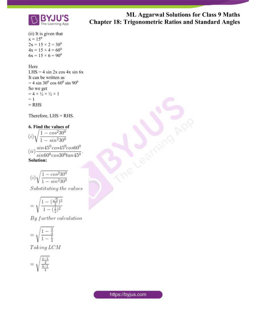 ML Aggarwal Solutions for Class 9 Maths Chapter 18 TR and Standard Angles 6