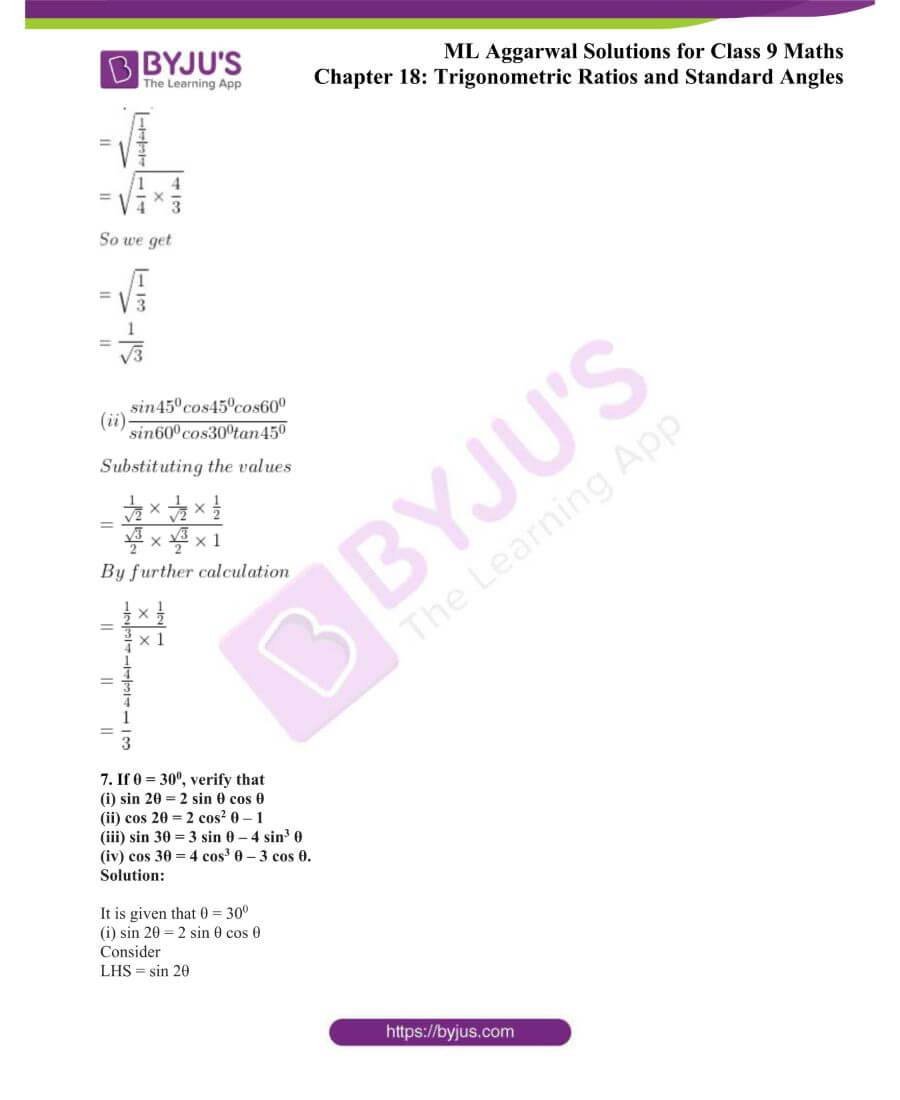 ML Aggarwal Solutions for Class 9 Maths Chapter 18 TR and Standard Angles 7