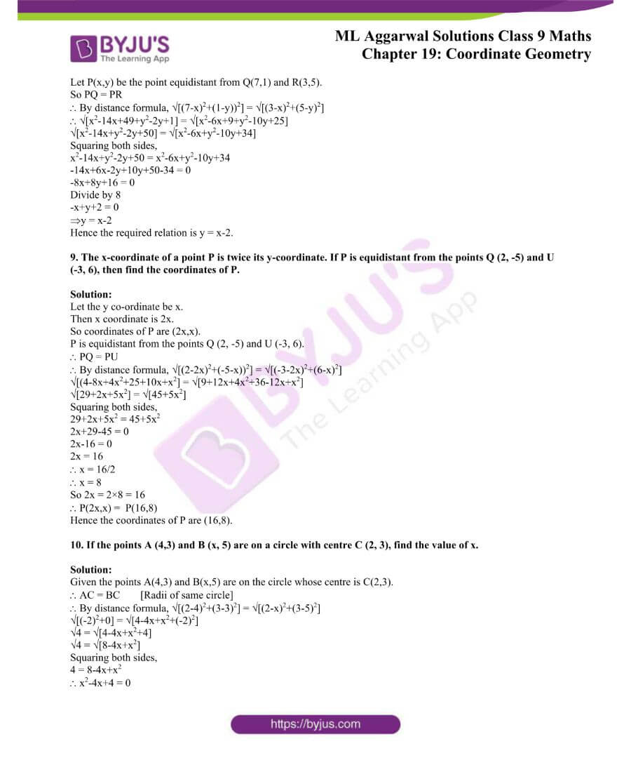ML Aggarwal Solutions for Class 9 Maths Chapter 19 Coordinate Geometry 46