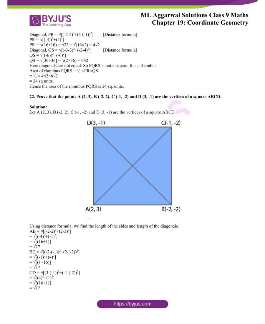 ML Aggarwal Solutions for Class 9 Maths Chapter 19 Coordinate Geometry 53