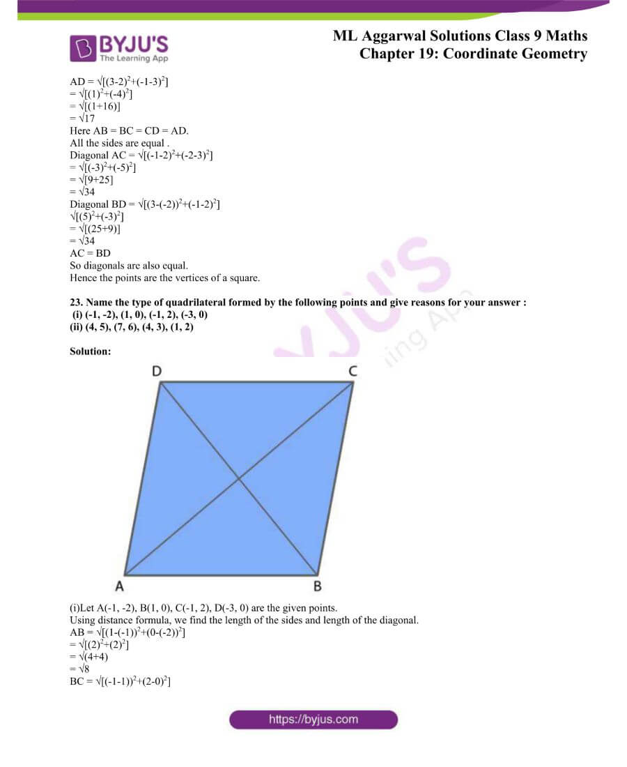ML Aggarwal Solutions for Class 9 Maths Chapter 19 Coordinate Geometry 54