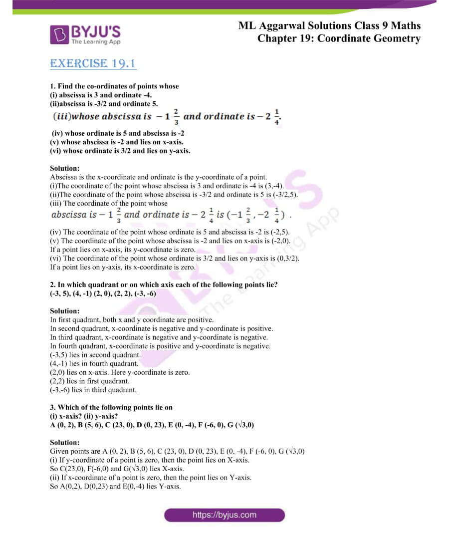 ML Aggarwal Solutions for Class 9 Maths Chapter 19 Coordinate Geometry