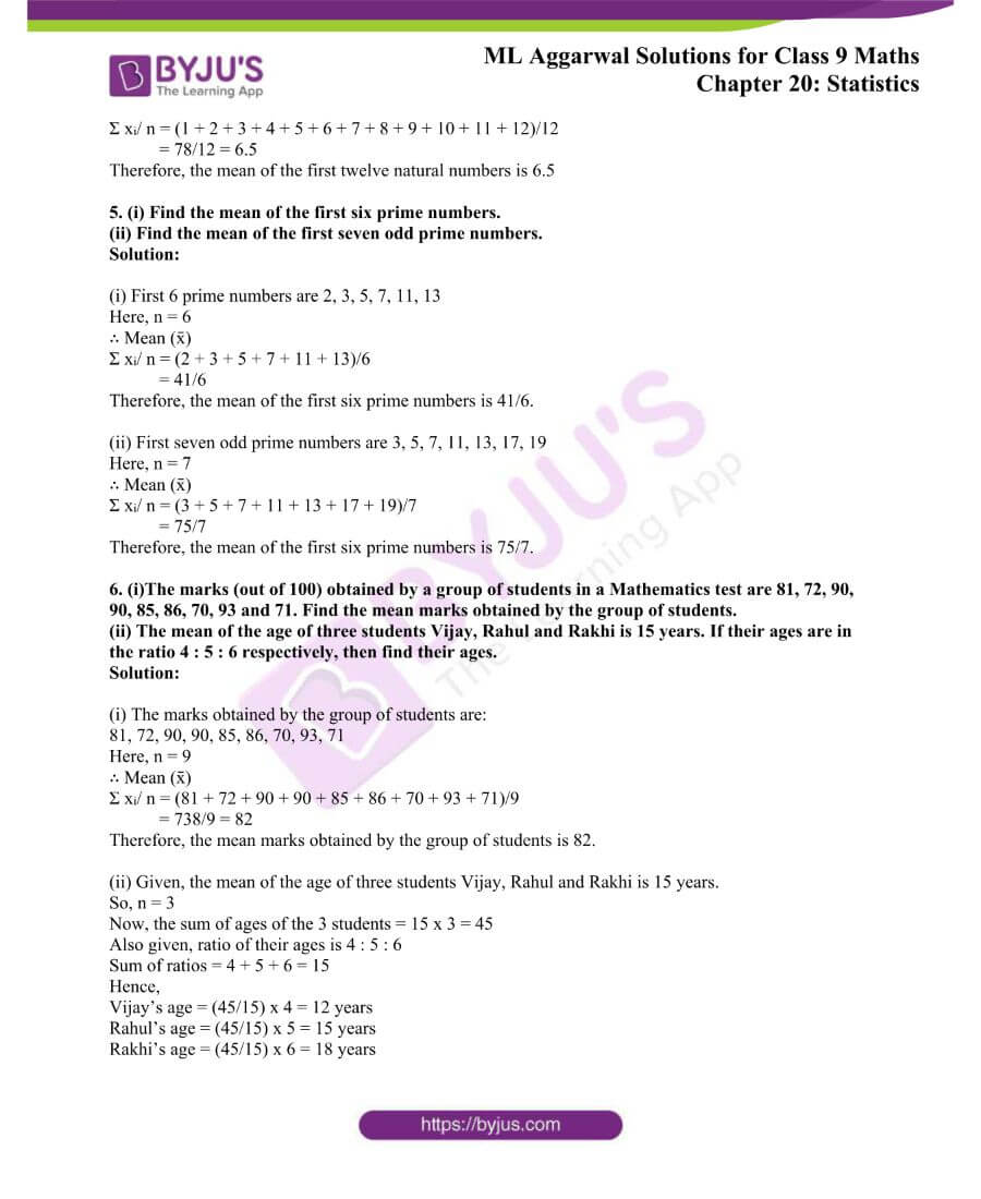 ML Aggarwal Solutions for Class 9 Maths Chapter 20 Statistics 1