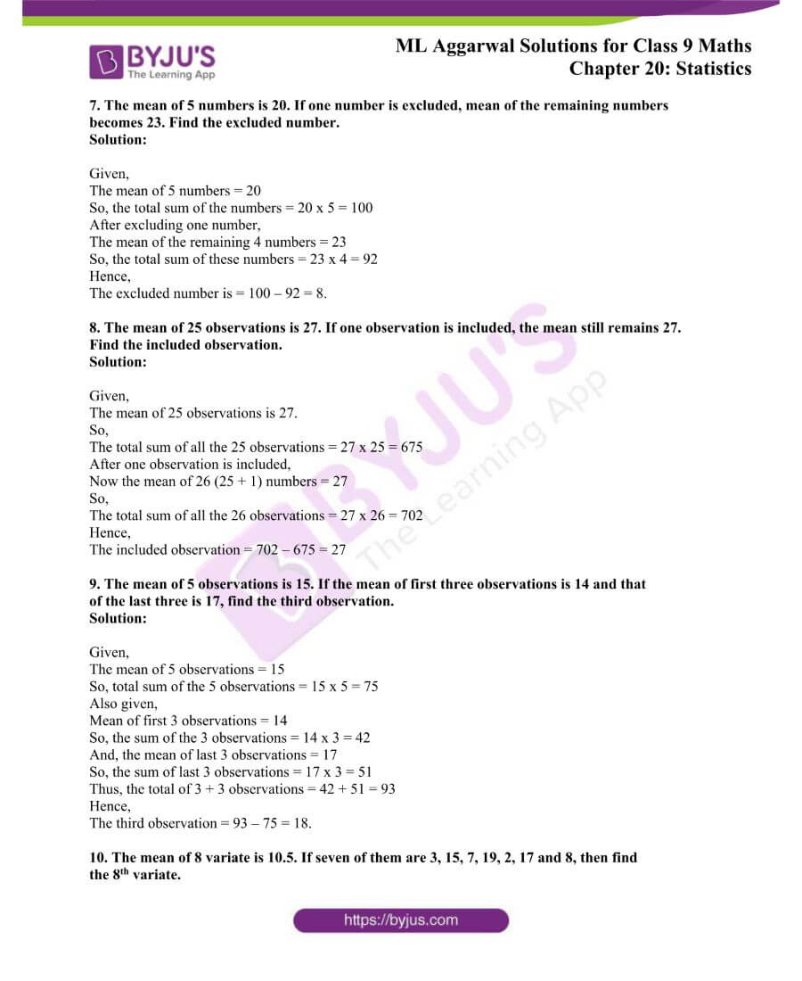 ML Aggarwal Solutions for Class 9 Maths Chapter 20 Statistics 2