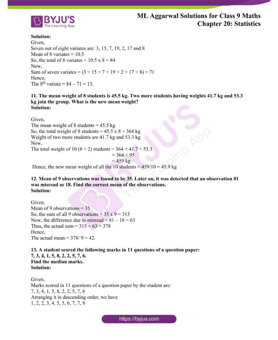 ML Aggarwal Solutions for Class 9 Maths Chapter 20 Statistics 3