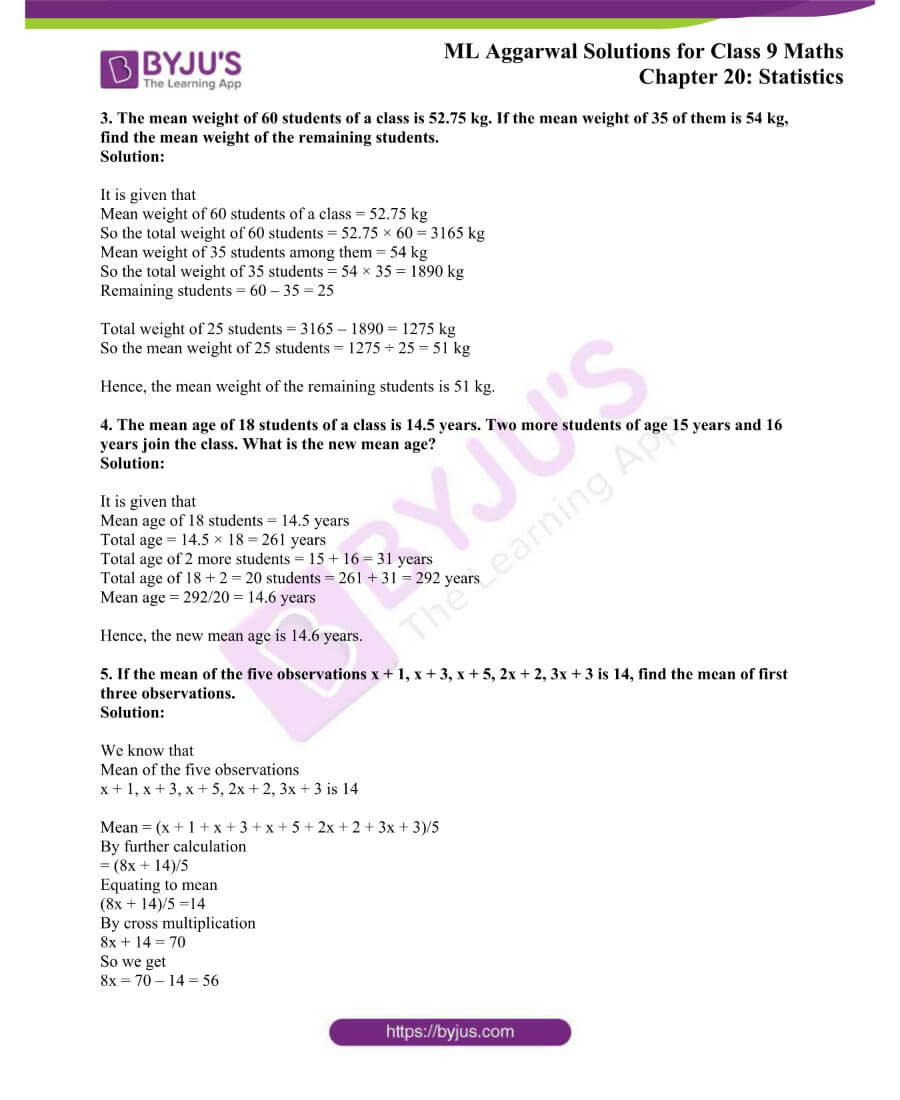 ML Aggarwal Solutions for Class 9 Maths Chapter 20 Statistics 36