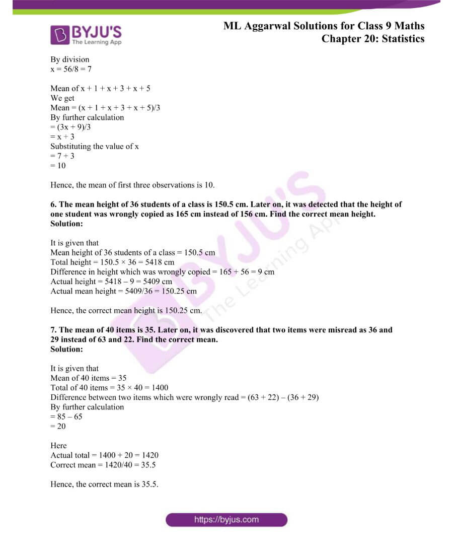 ML Aggarwal Solutions for Class 9 Maths Chapter 20 Statistics 37