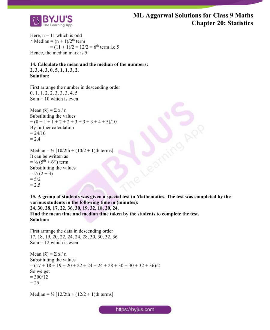 ML Aggarwal Solutions for Class 9 Maths Chapter 20 Statistics 4
