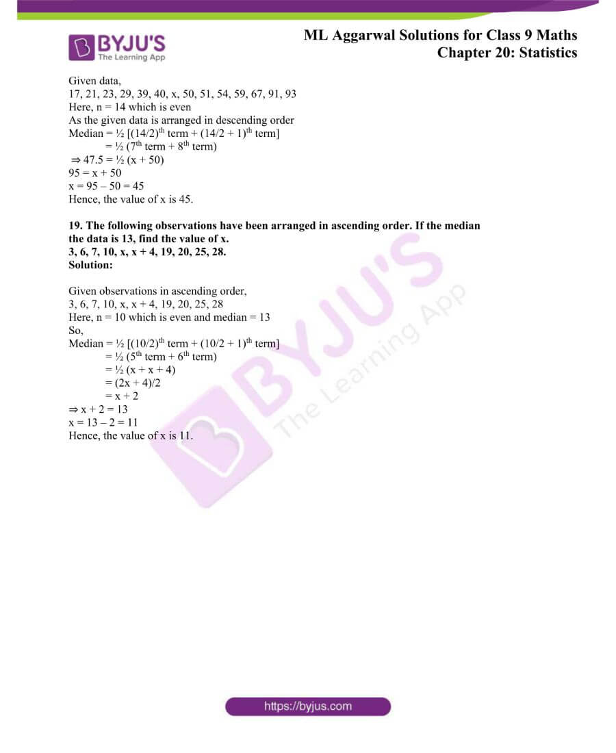 ML Aggarwal Solutions for Class 9 Maths Chapter 20 Statistics 6
