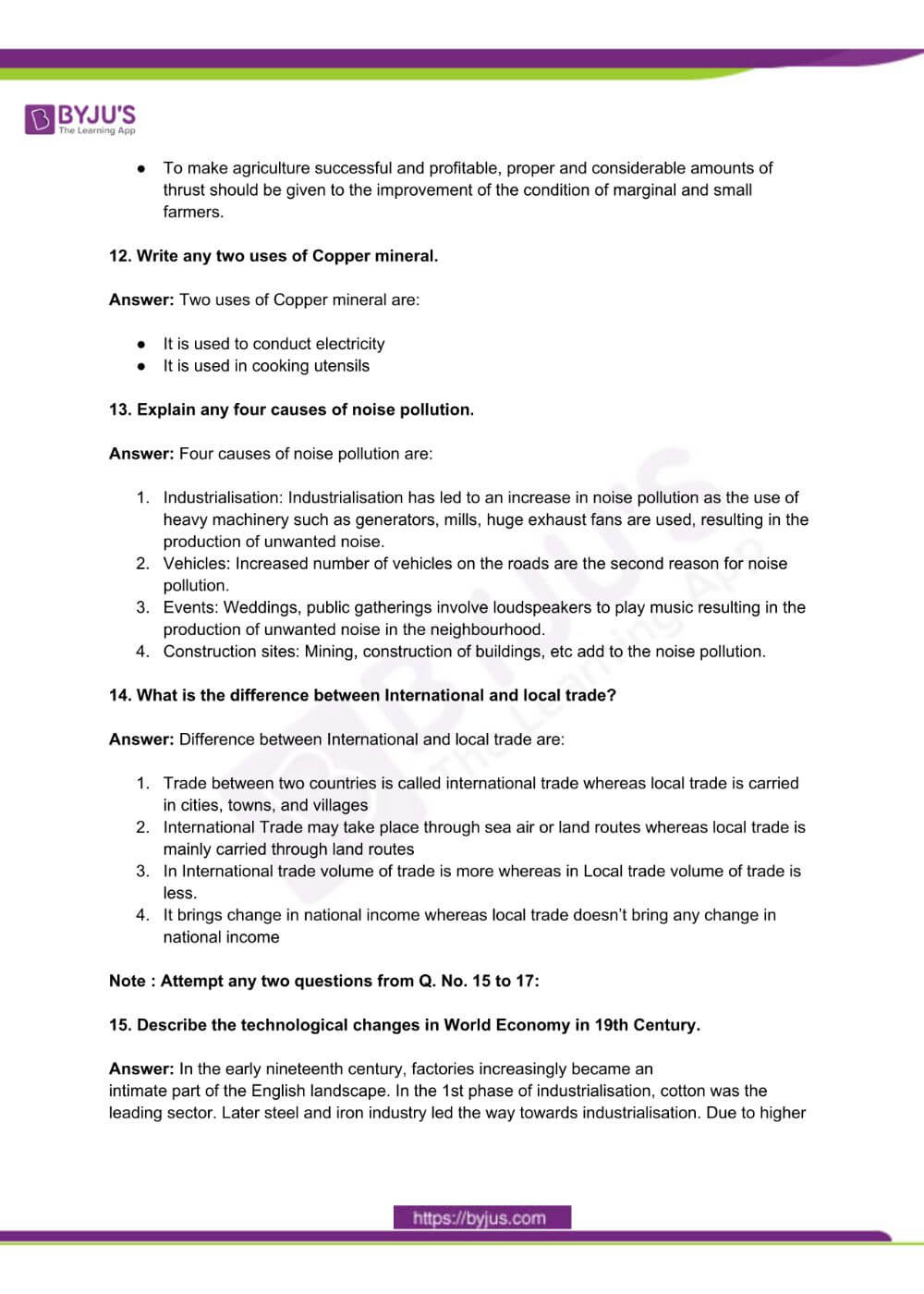 RBSE Class 10 Social Science Question Paper Solutions 2017 PDF 2