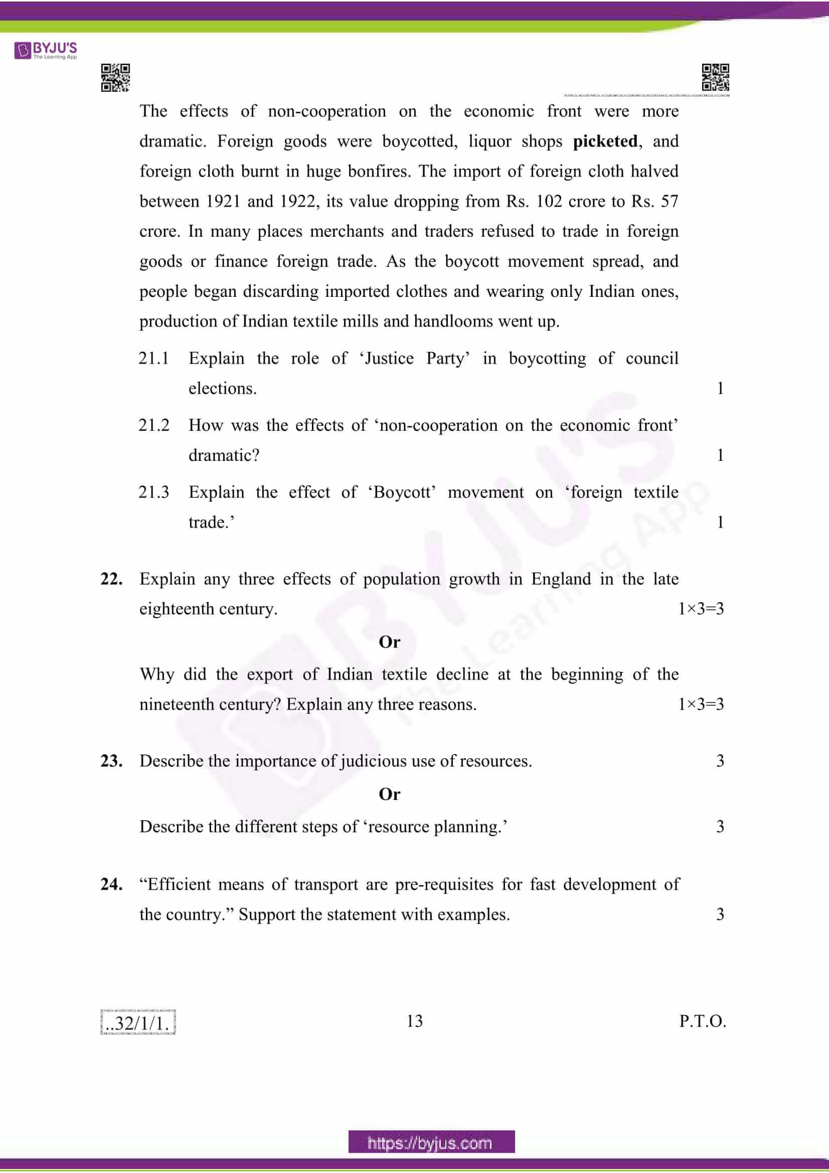 cbse class 10 social science question paper 2020 13