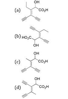 IUPAC name 3-ethynyl-2-hydroxy-4-methylhex-3-en-5-ynoic acid