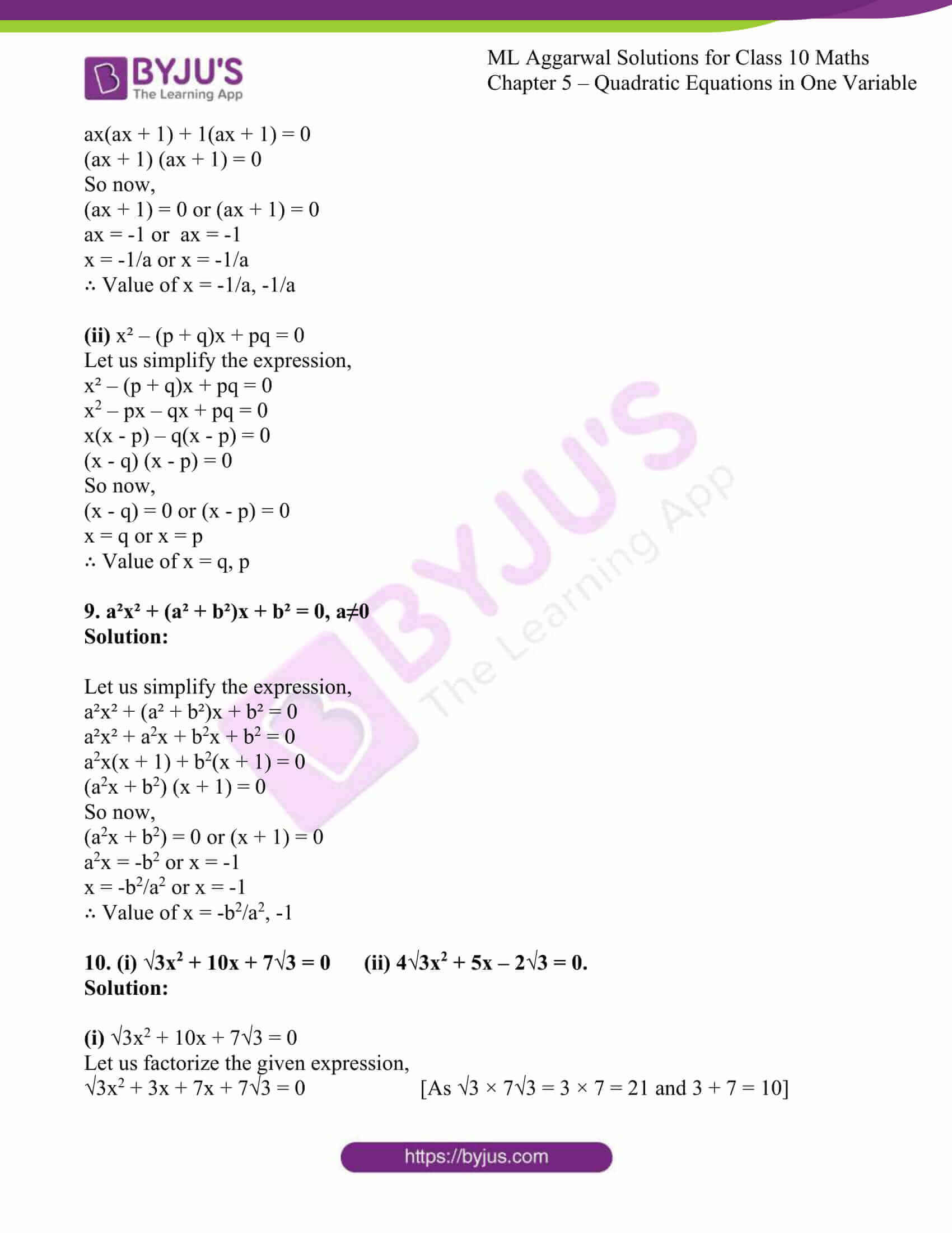 ml aggarwal solutions class 10 maths chapter 5 11