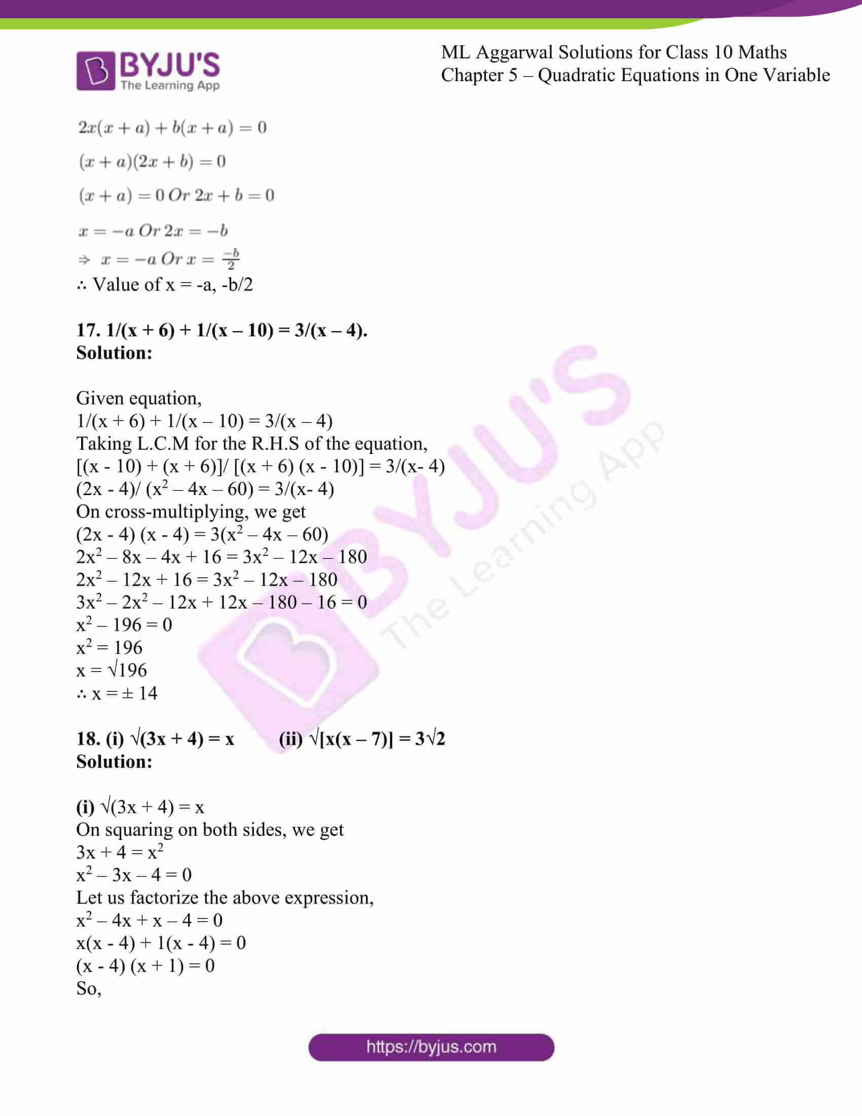 ml aggarwal solutions class 10 maths chapter 5 18