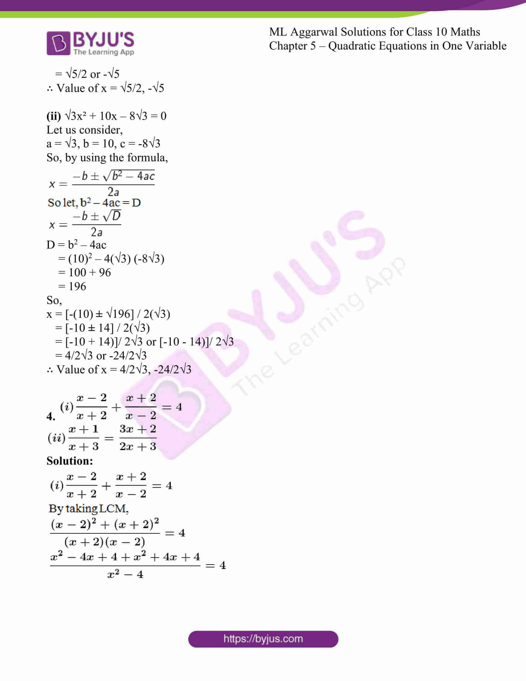 ml aggarwal solutions class 10 maths chapter 5 26