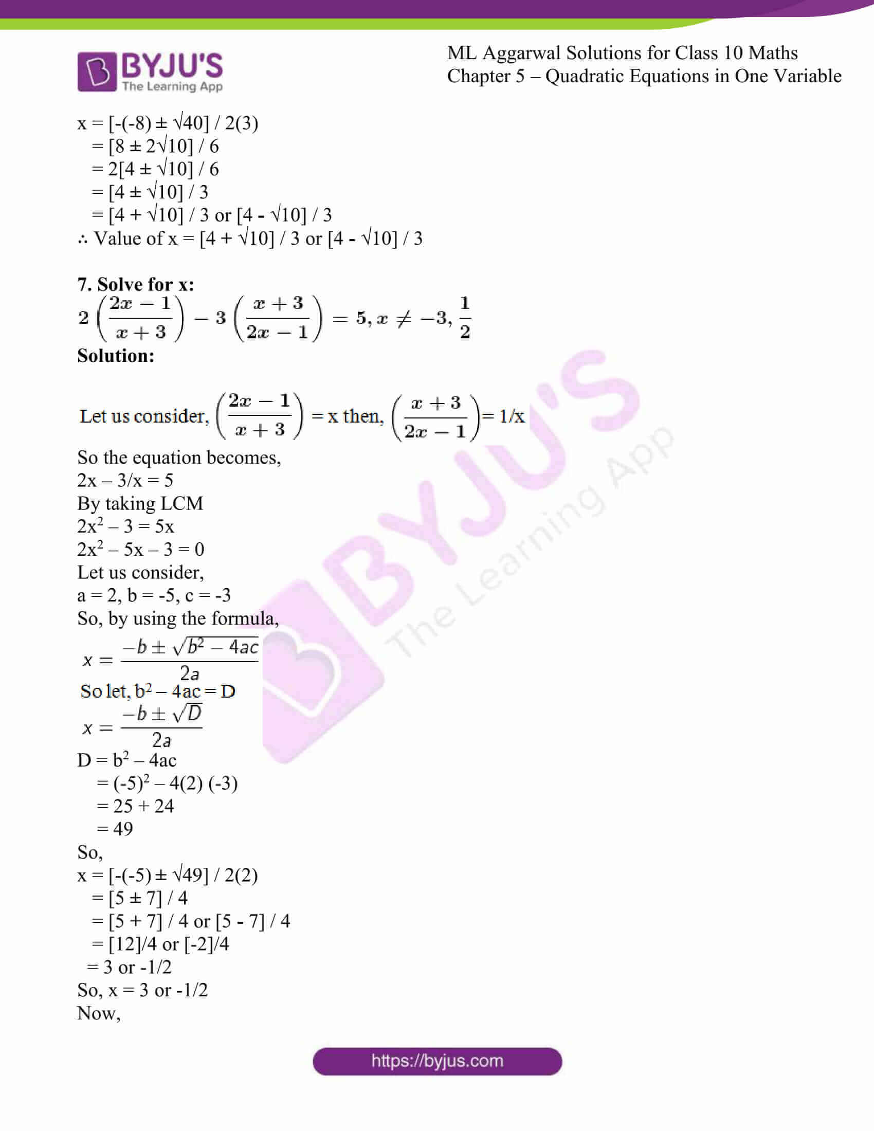 ml aggarwal solutions class 10 maths chapter 5 31