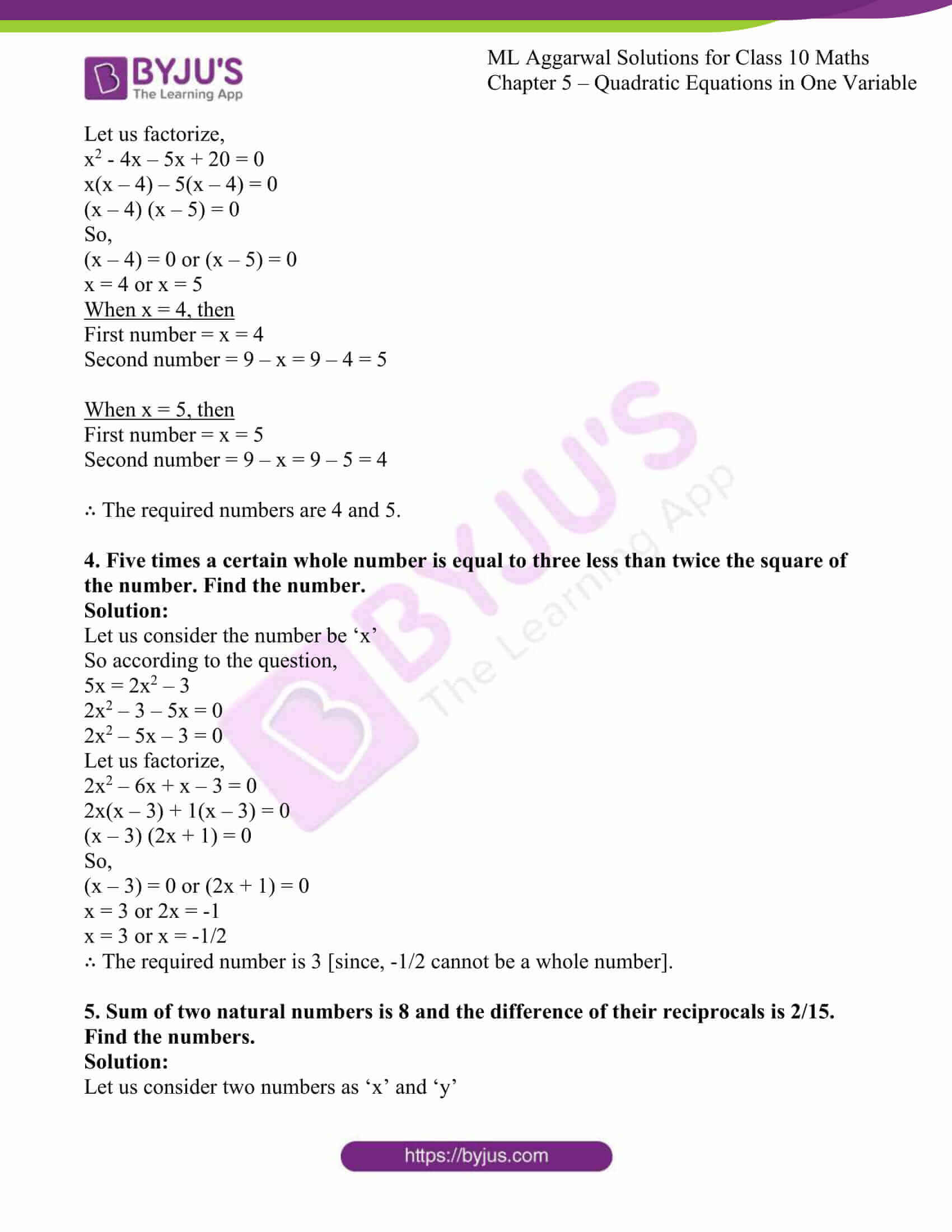ml aggarwal solutions class 10 maths chapter 5 54