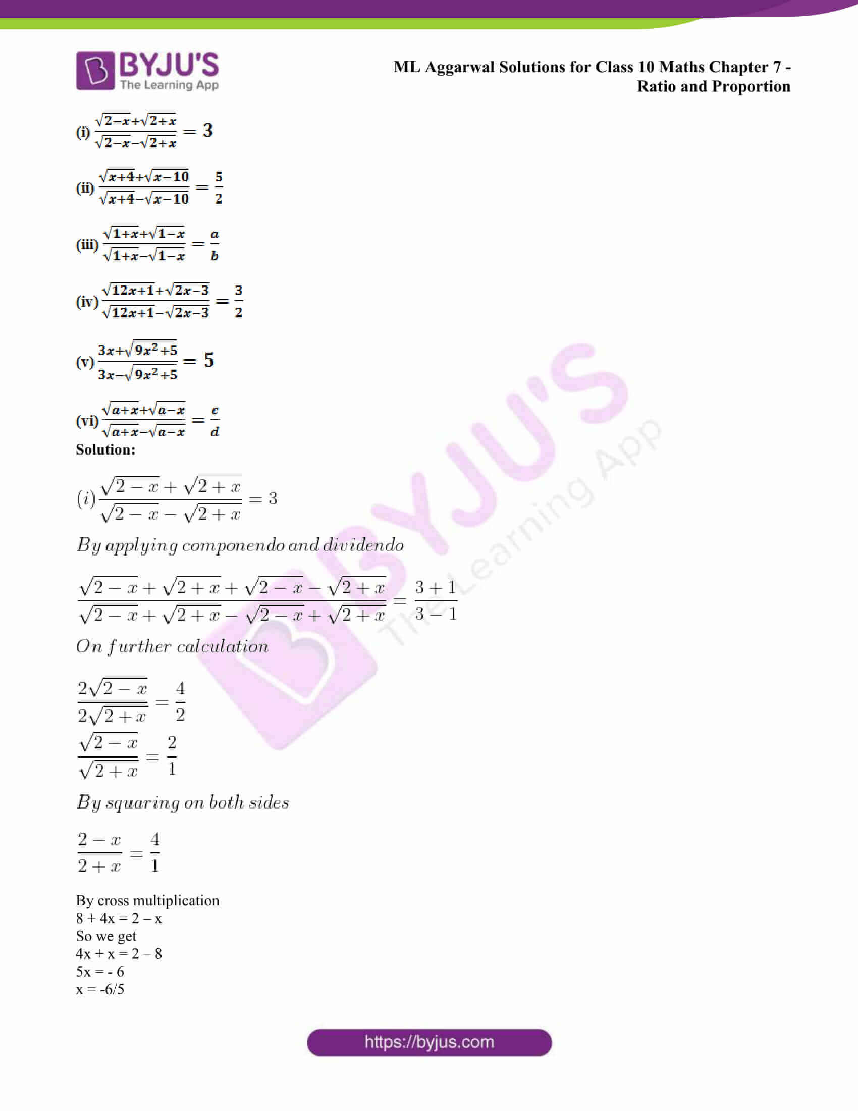 ml aggarwal solutions class 10 maths chapter 7 54