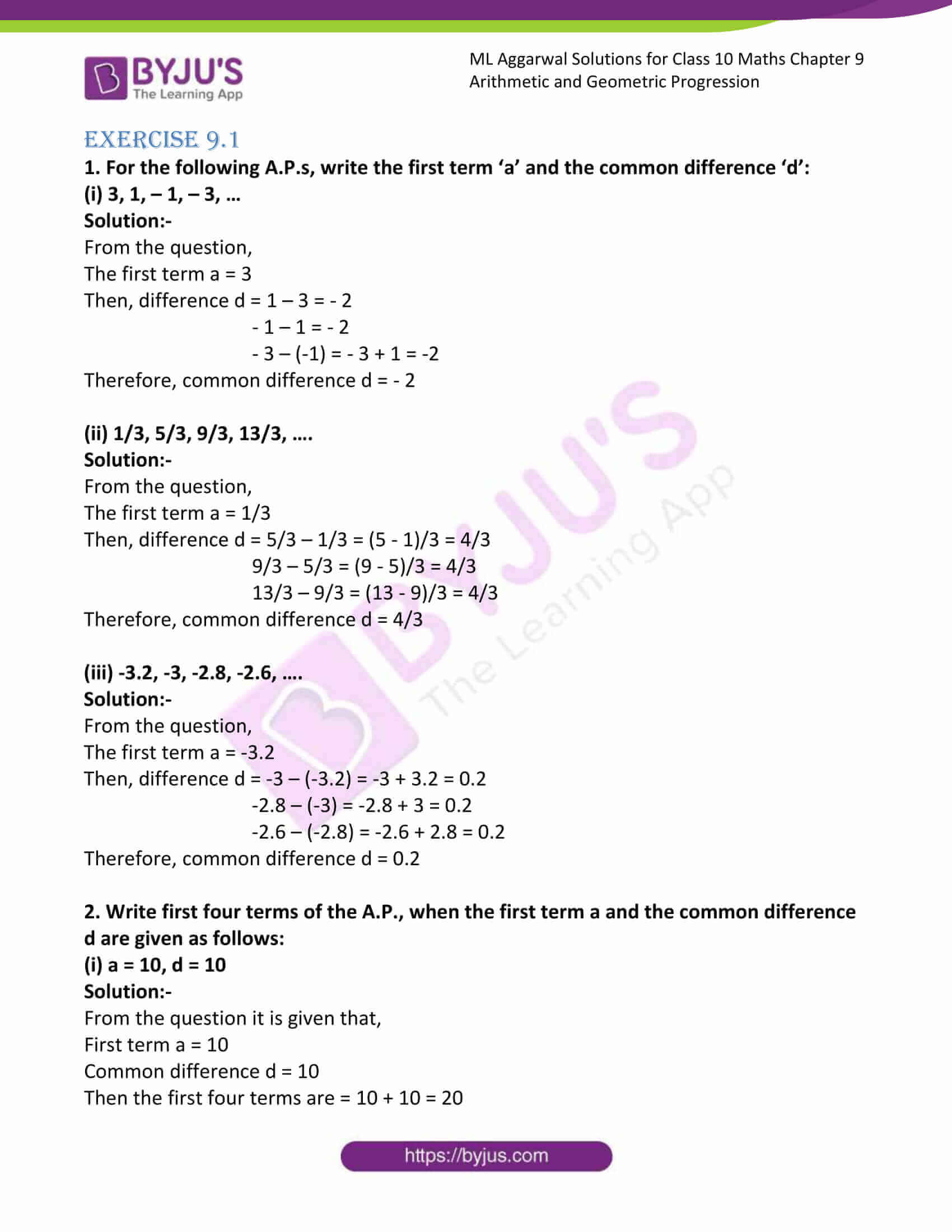 ml aggarwal solutions class 10 maths chapter 9 01