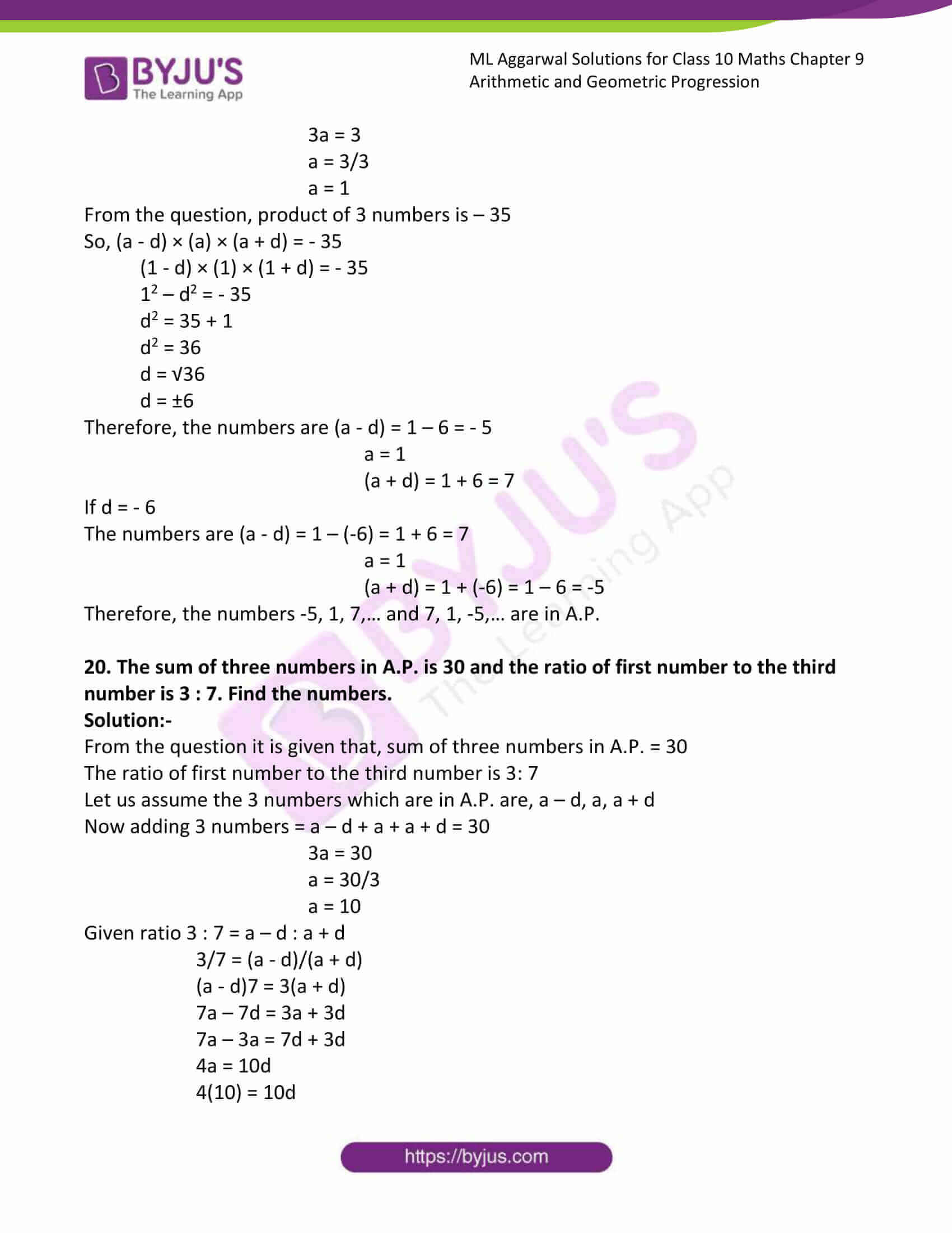ml aggarwal solutions class 10 maths chapter 9 19