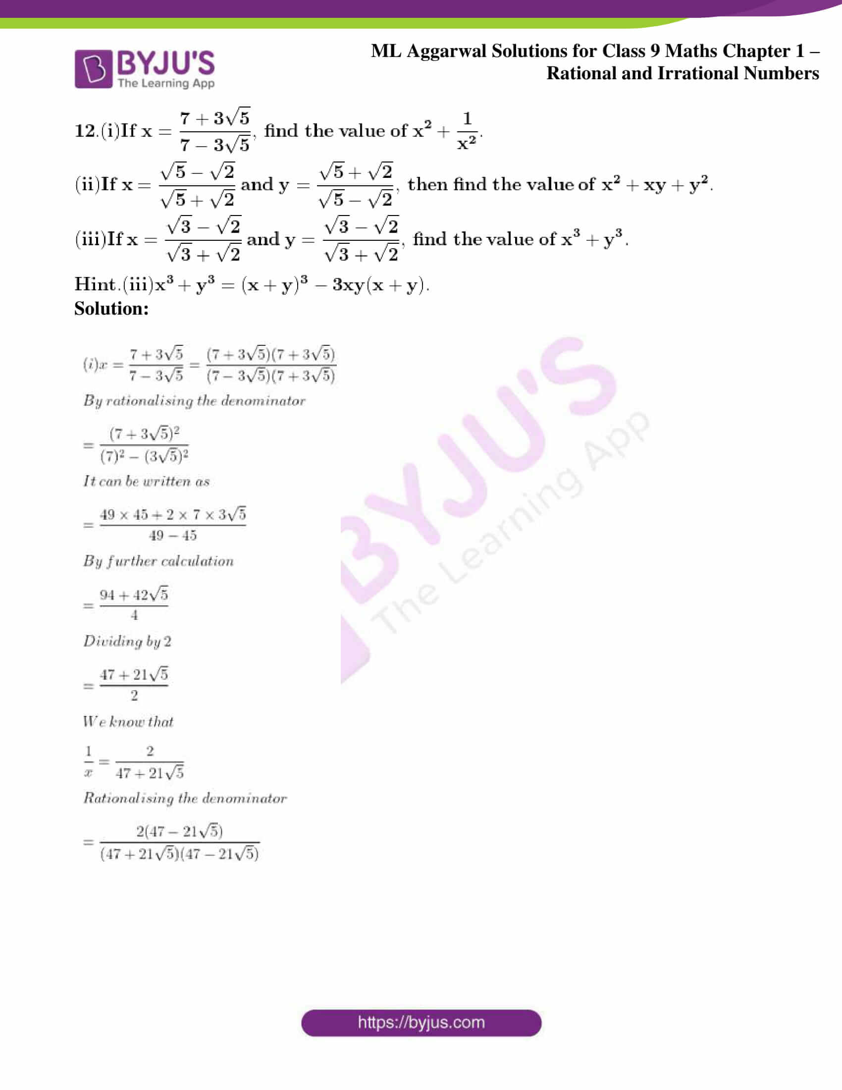 ml aggarwal solutions for class 9 maths chapter 1 74