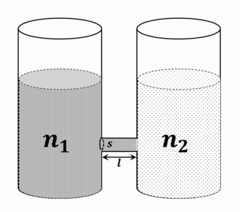 Two vessels containing water solutions