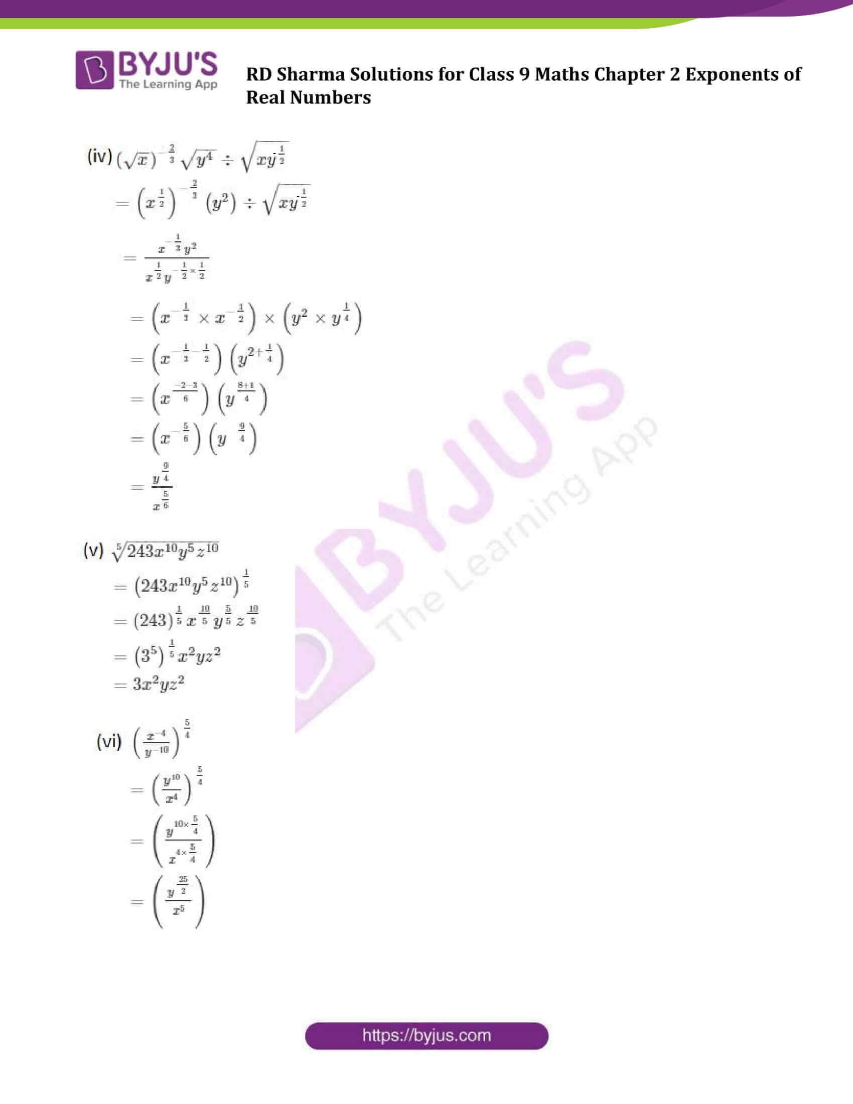 RD Sharma Solution class 9 Maths Chapter 2 Exponents of Real Numbers 10