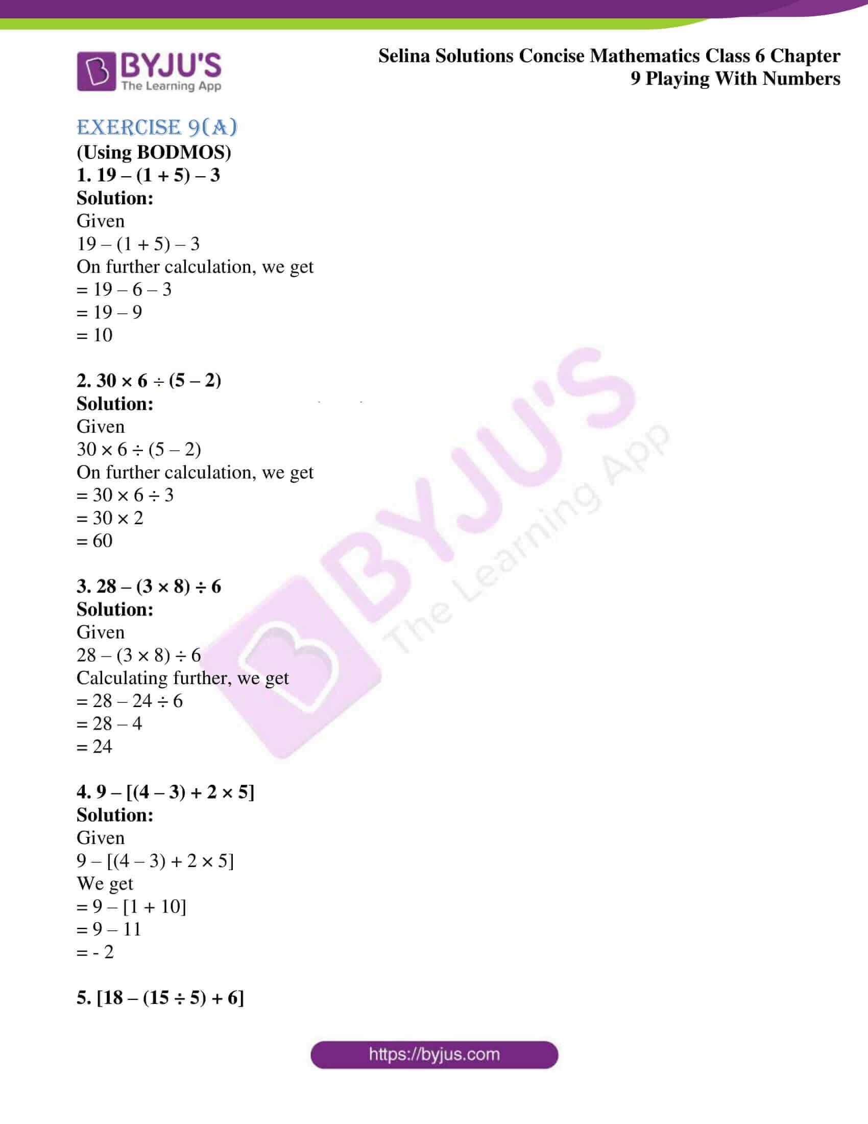 selina sol concise mathematics class 6 ch 9 ex a 1
