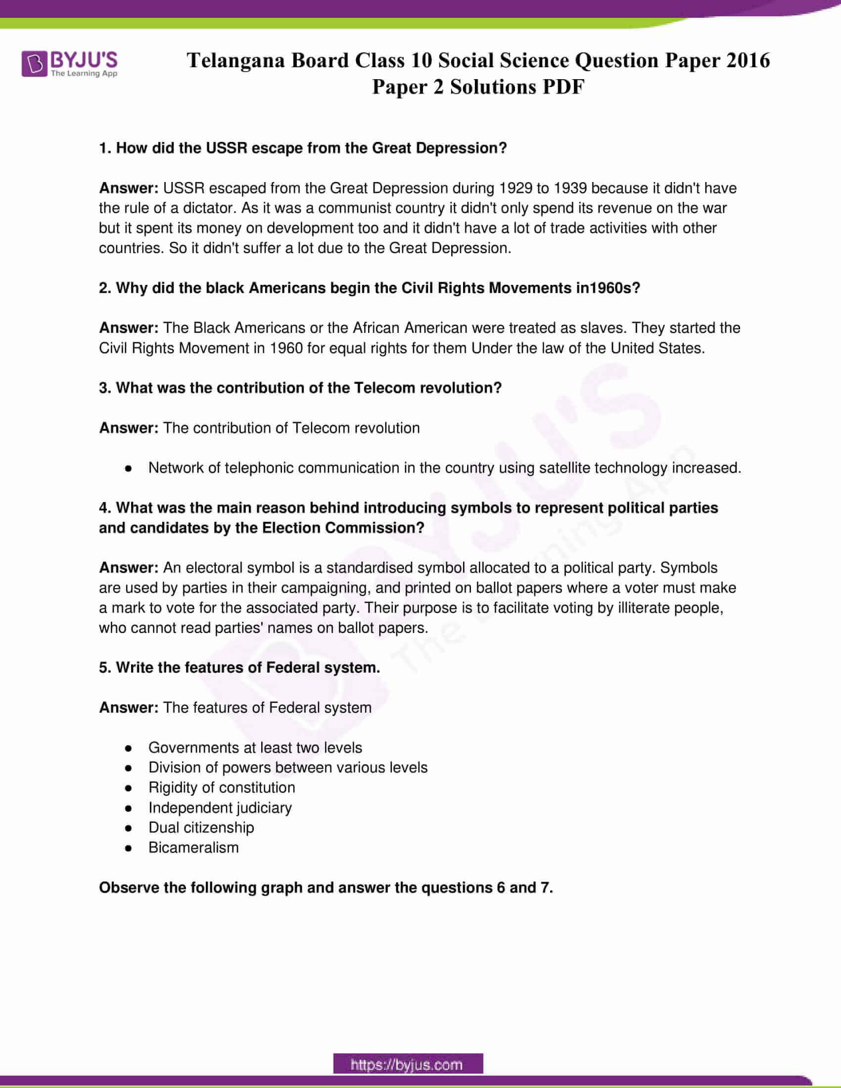 telangana board class 10 social science 2016 paper 2 solutions 1
