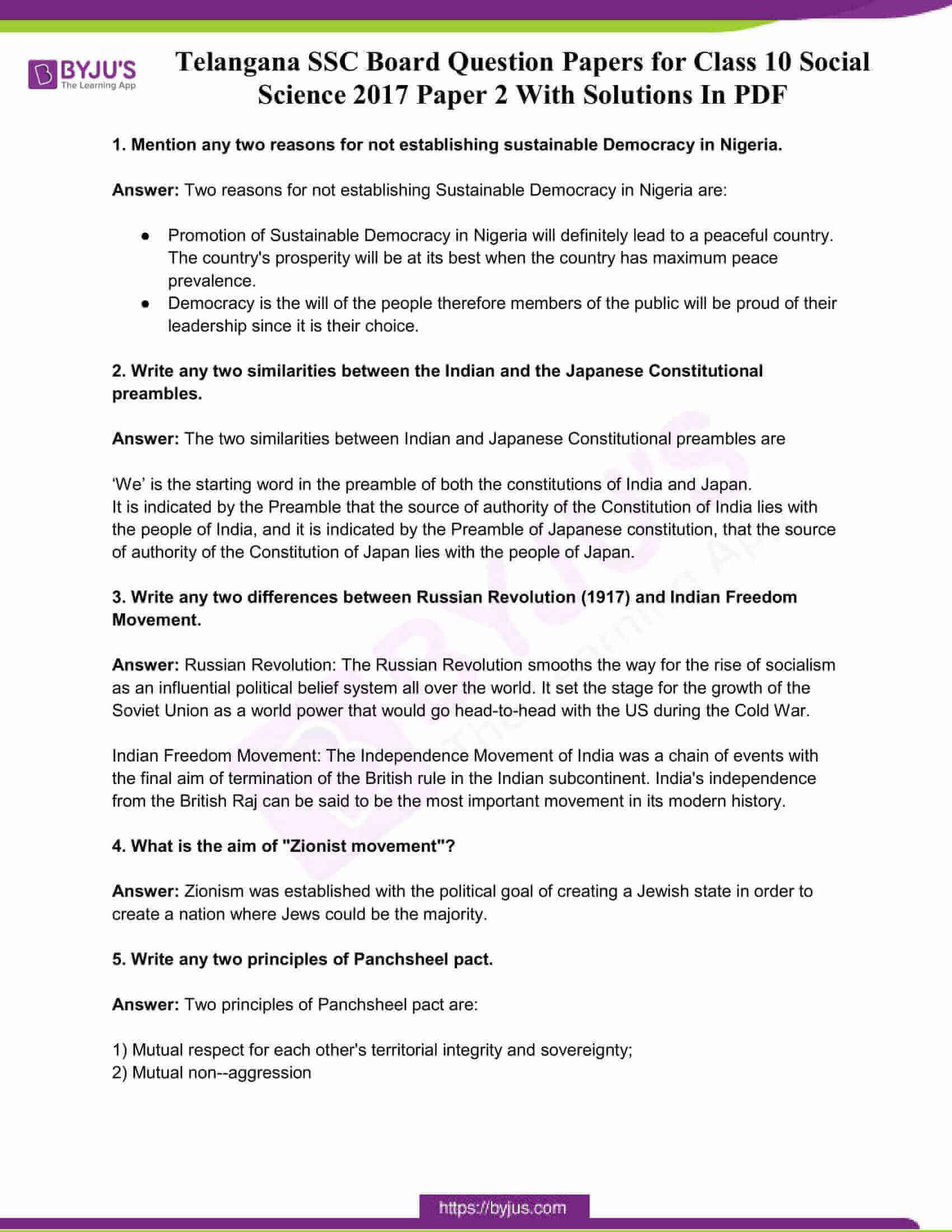 telangana board class 10 social science 2017 paper 2 solutions 1