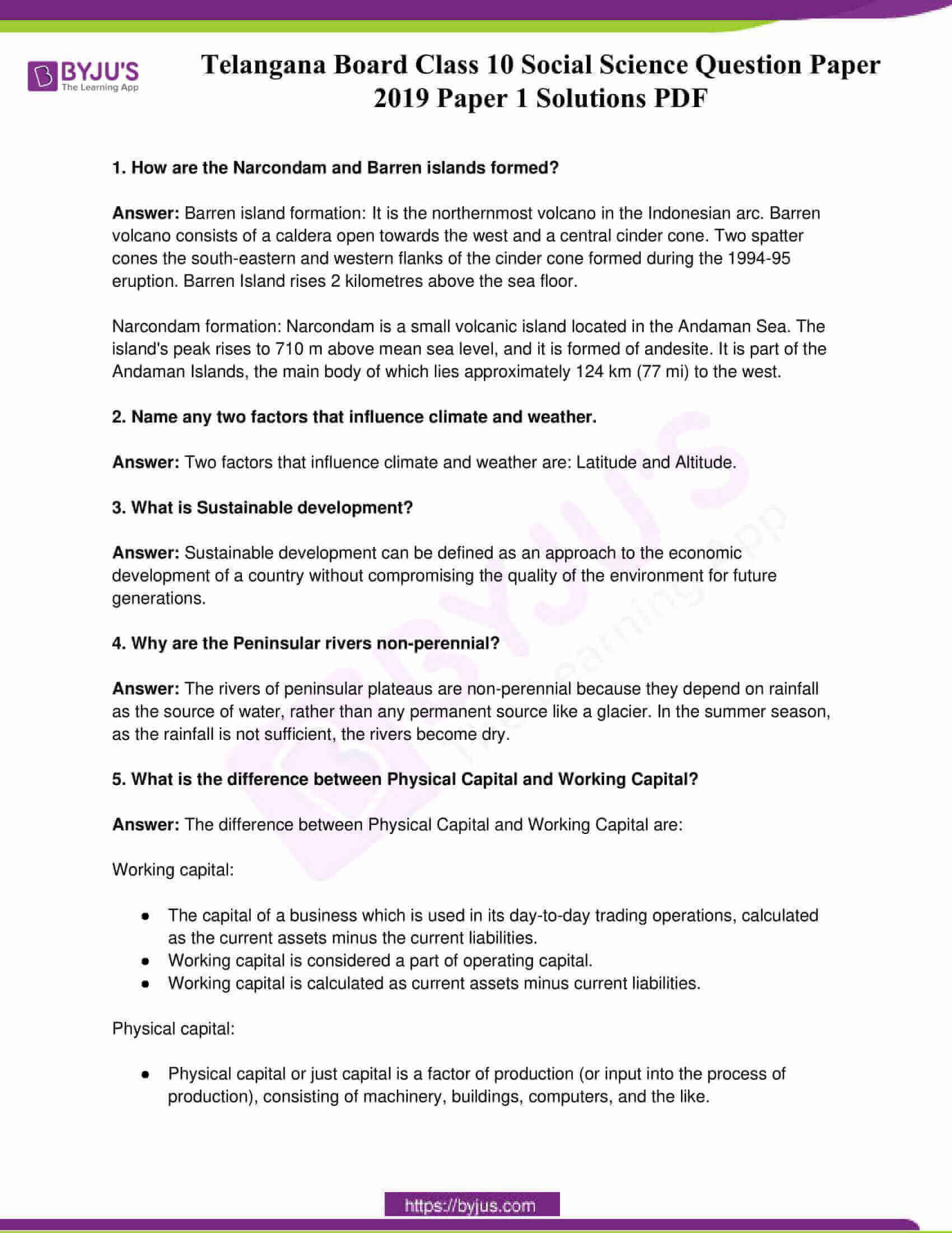 telangana board class 10 social science 2019 paper 1 solutions 1