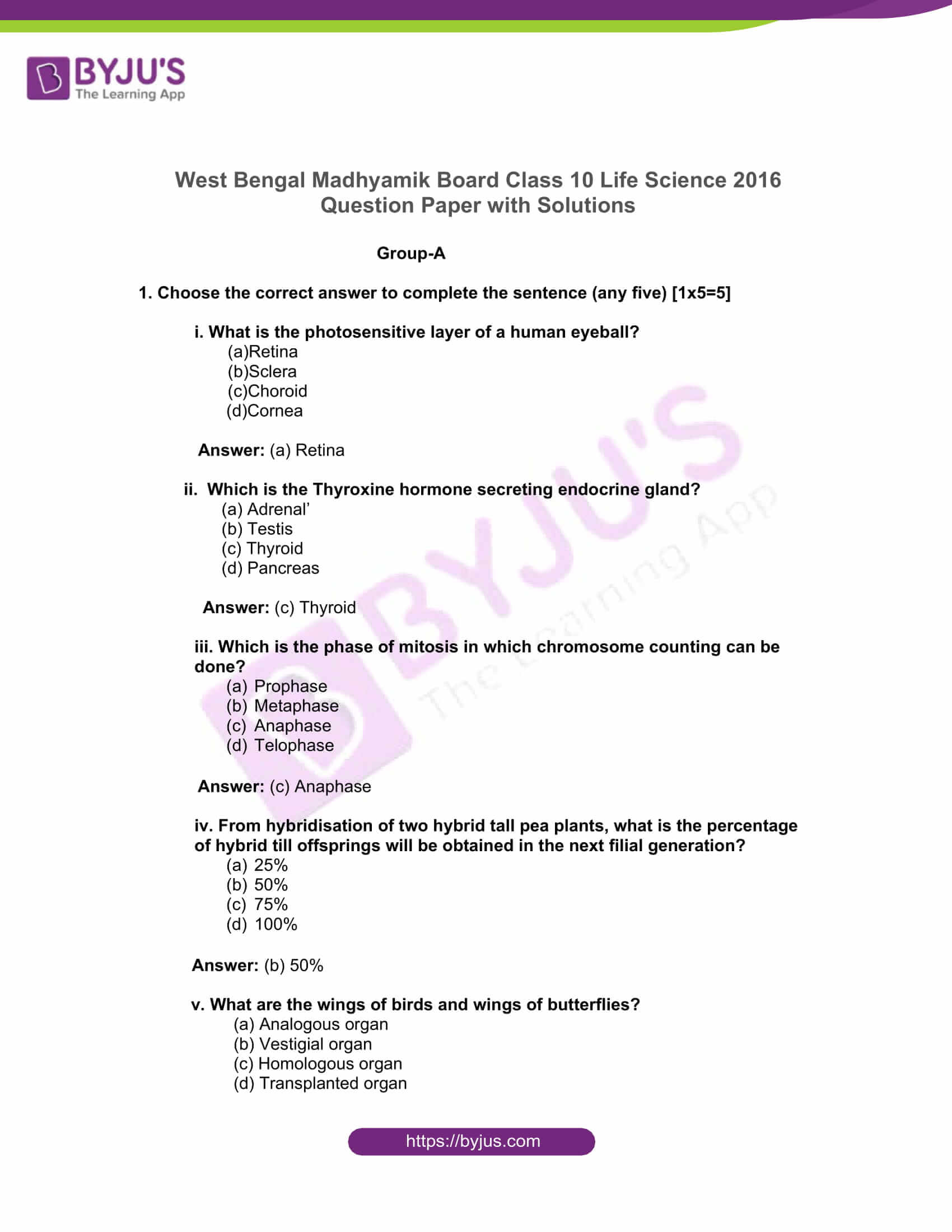 west bengal board class 10 life science 2016 solutions 01