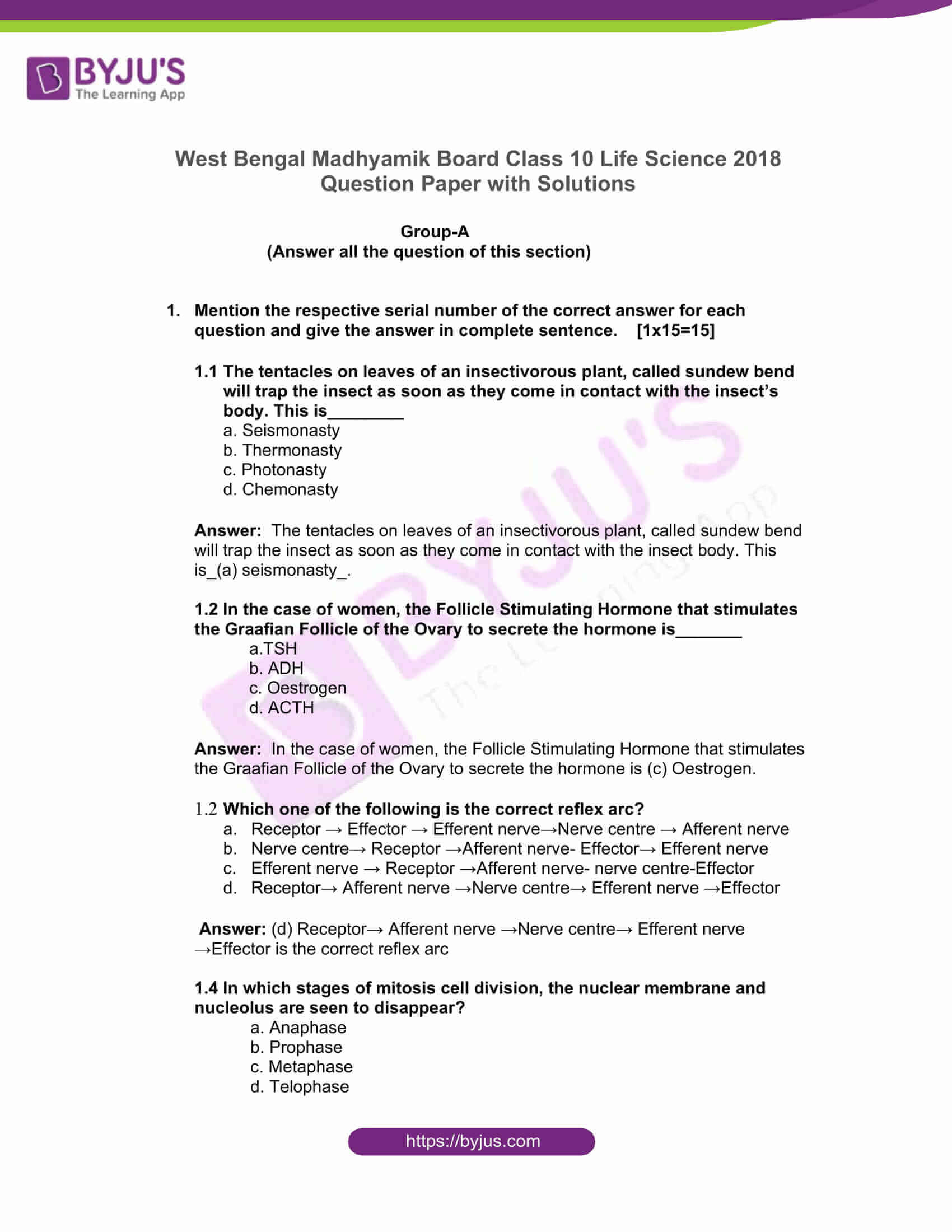 west bengal board class 10 life science 2018 solutions 01