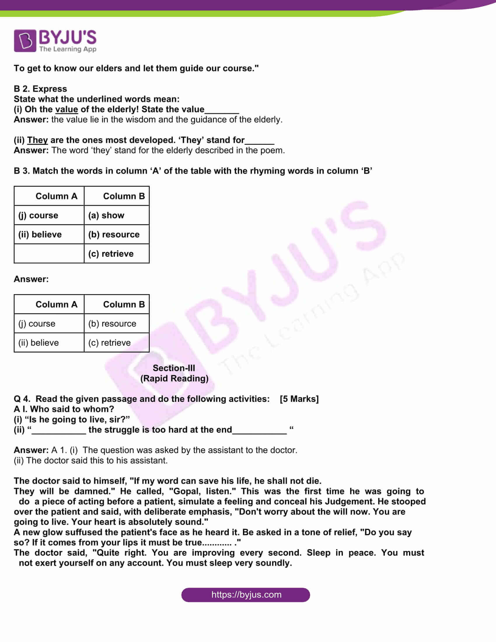 msbshse class 10 english question paper solutions 2015 11