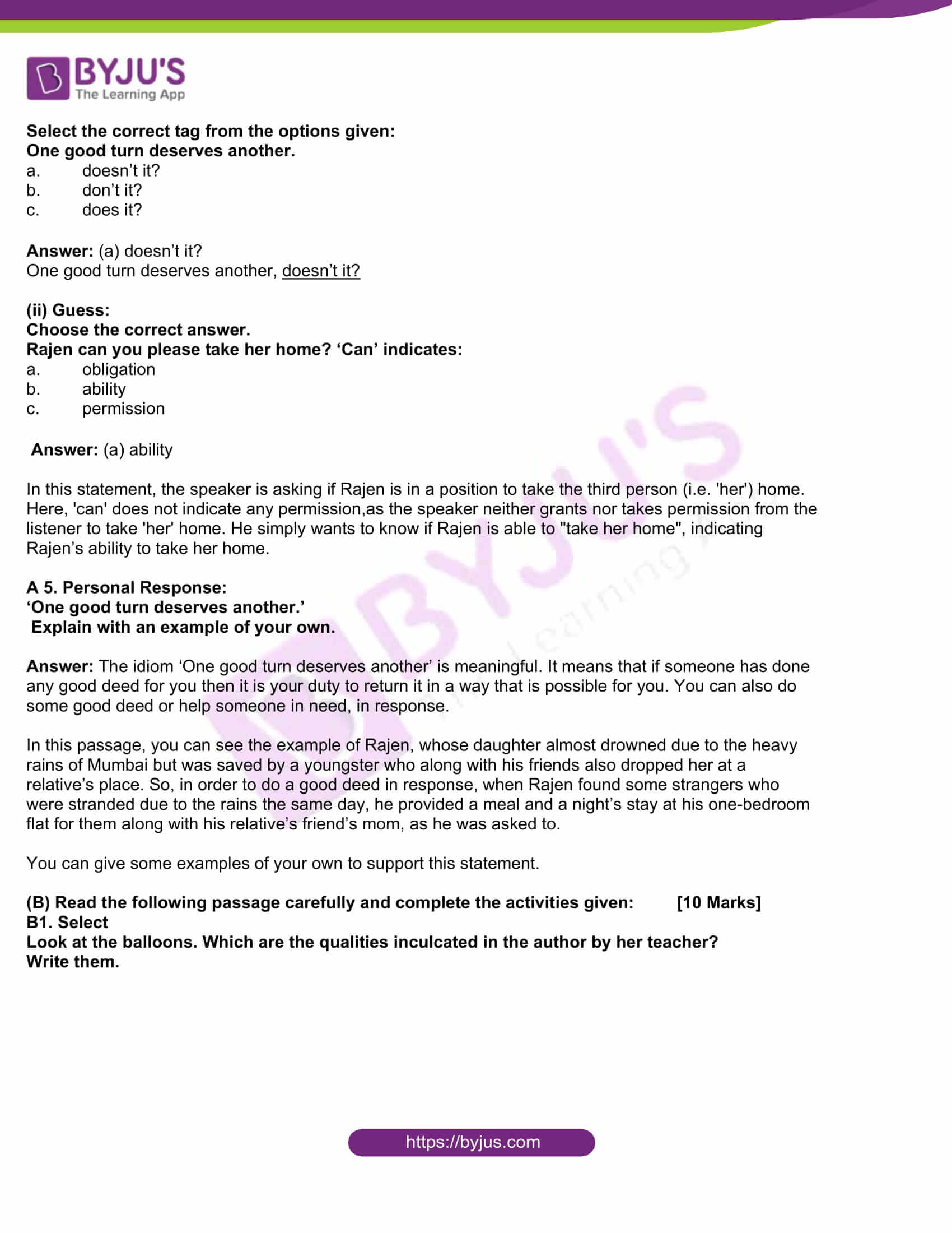 msbshse class 10 english question paper solutions 2016 03