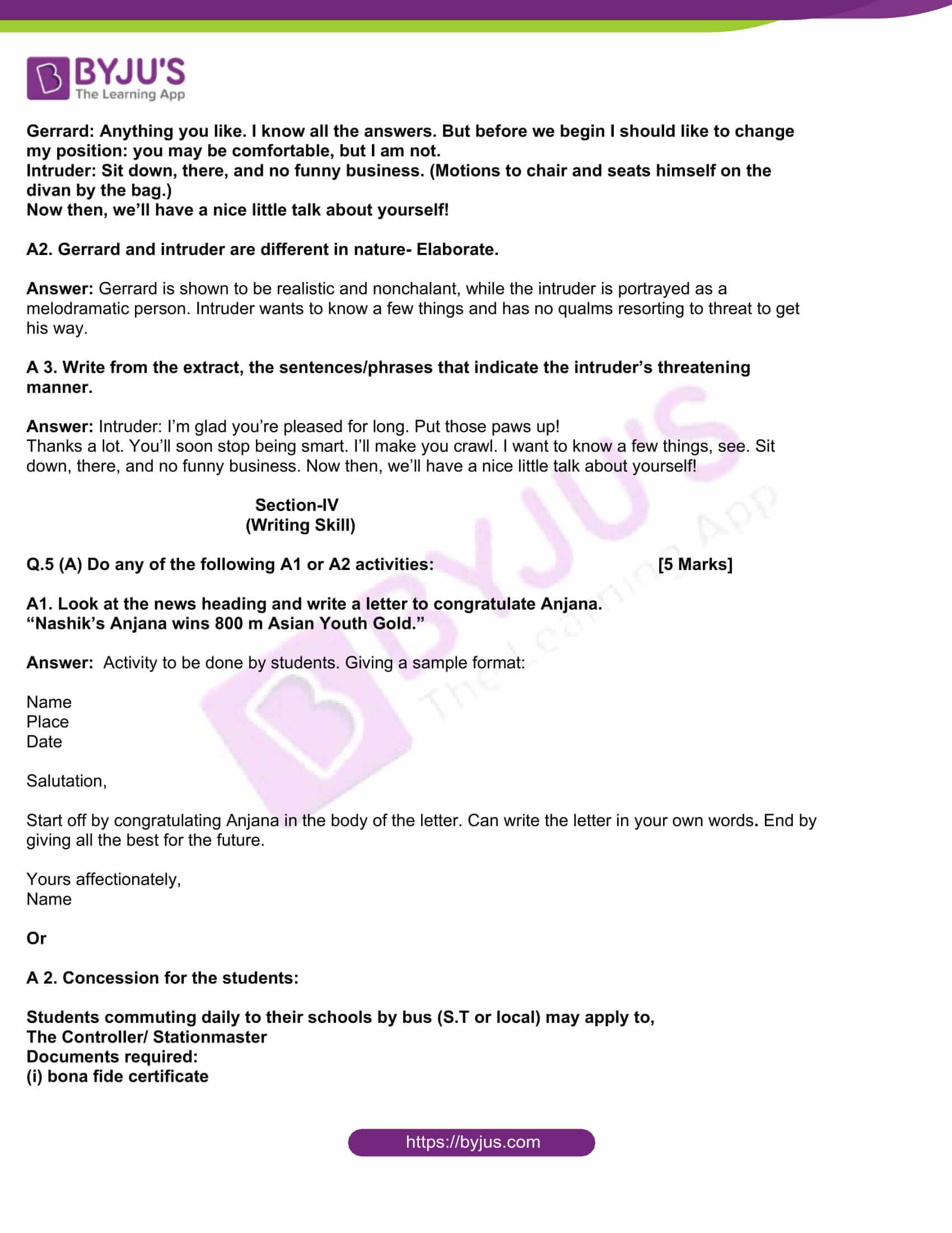msbshse class 10 english question paper solutions 2017 14