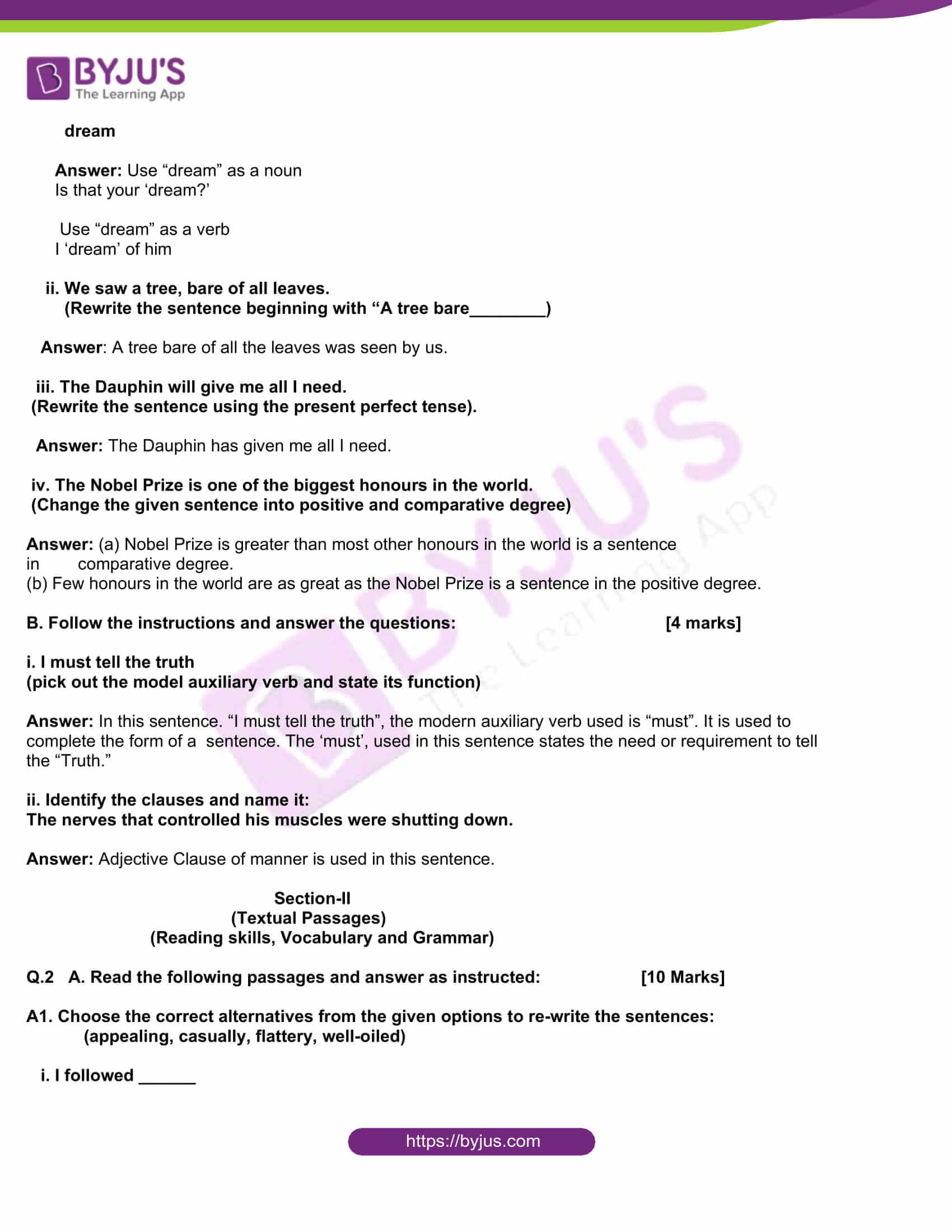 msbshse class 10 english question paper solutions 2019 02
