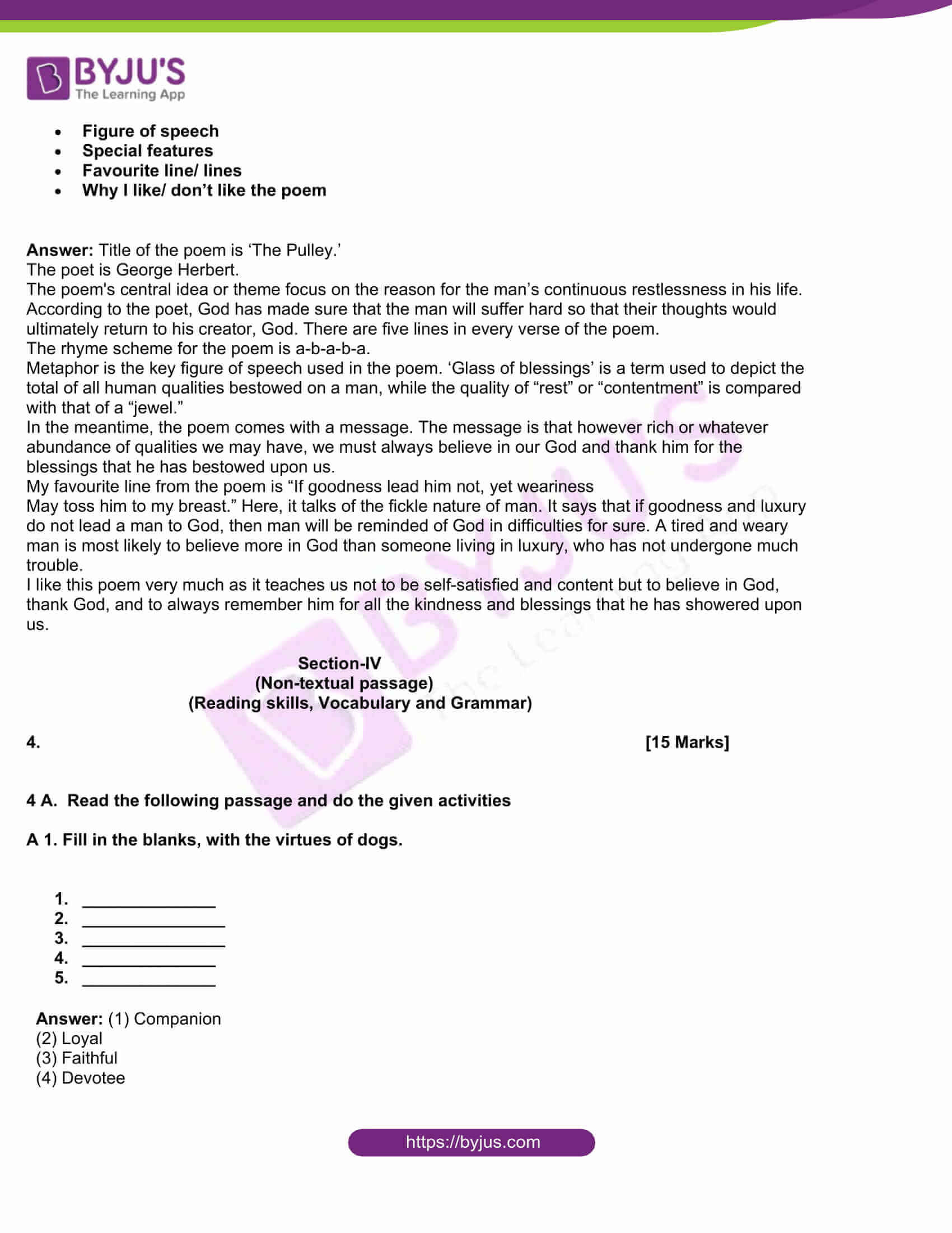 msbshse class 10 english question paper solutions 2019 09