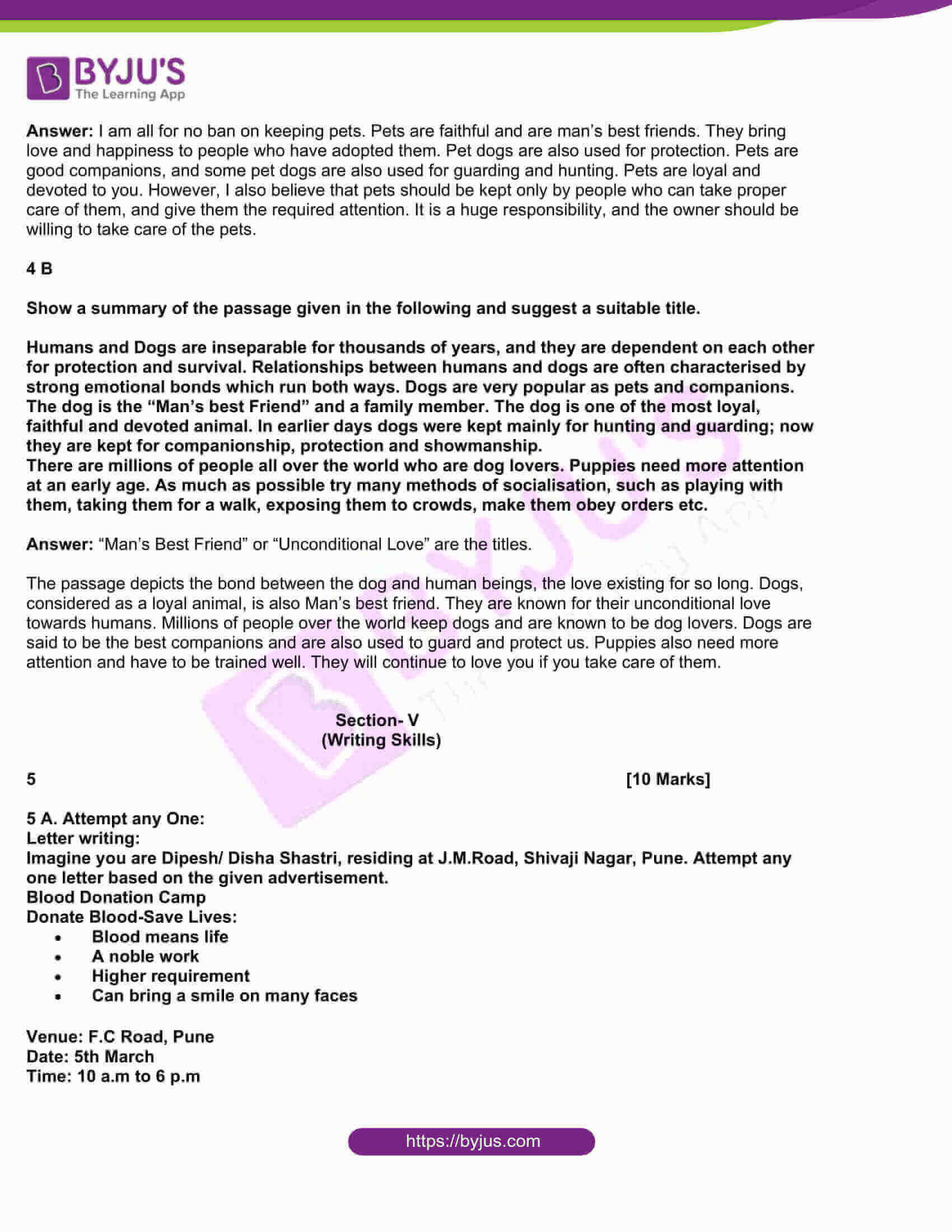 msbshse class 10 english question paper solutions 2019 11