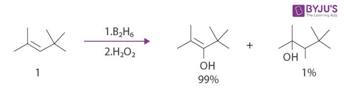 Hydroboration of trisubstituted alkenes Example