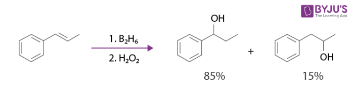 hydroboration oxidation reaction of E-prop-1-en-1-ylbenzene