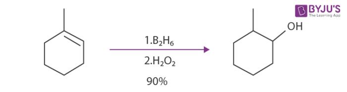 hydroboration oxidation reaction of 1-methyl-cyclohex-1-ene
