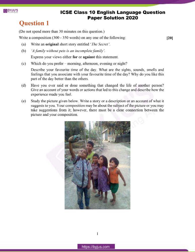 ICSE Class 10 English Language Question Paper Solution 2020