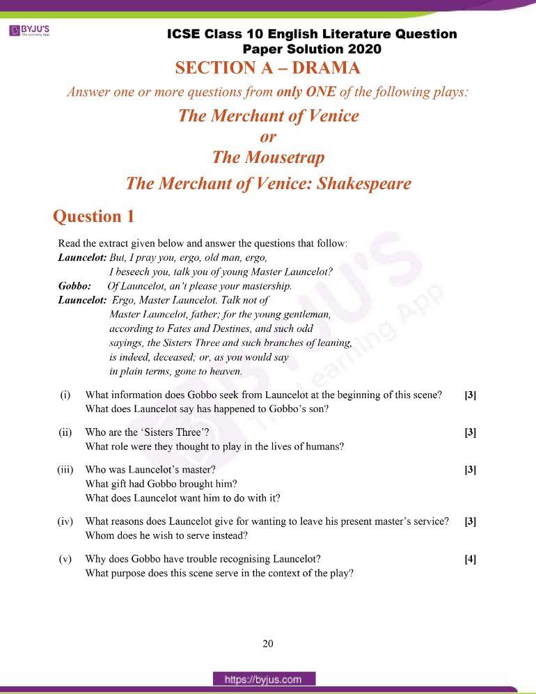 ICSE Class 10 English Literature Question Paper Solution 2020
