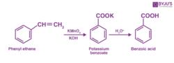 Conversion of Styrene (Phenyl ethene) to Benzoic acid