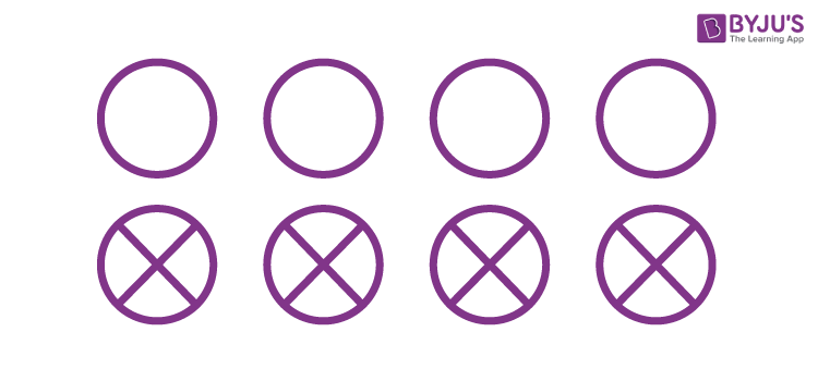 What fractions of these circles have X's in them?