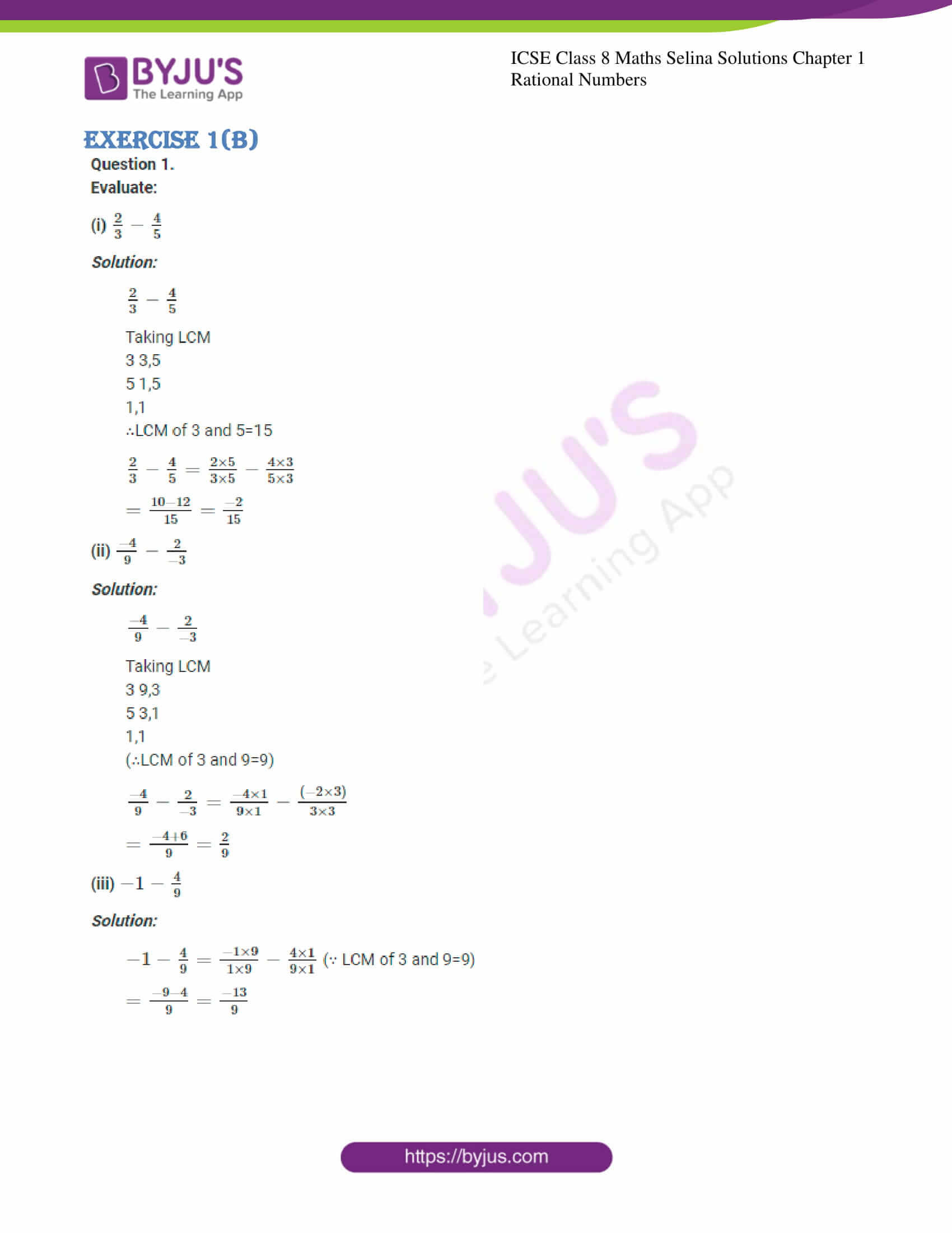 icse april7 class 8 maths selina solutions chapter 1 rational numbers 18
