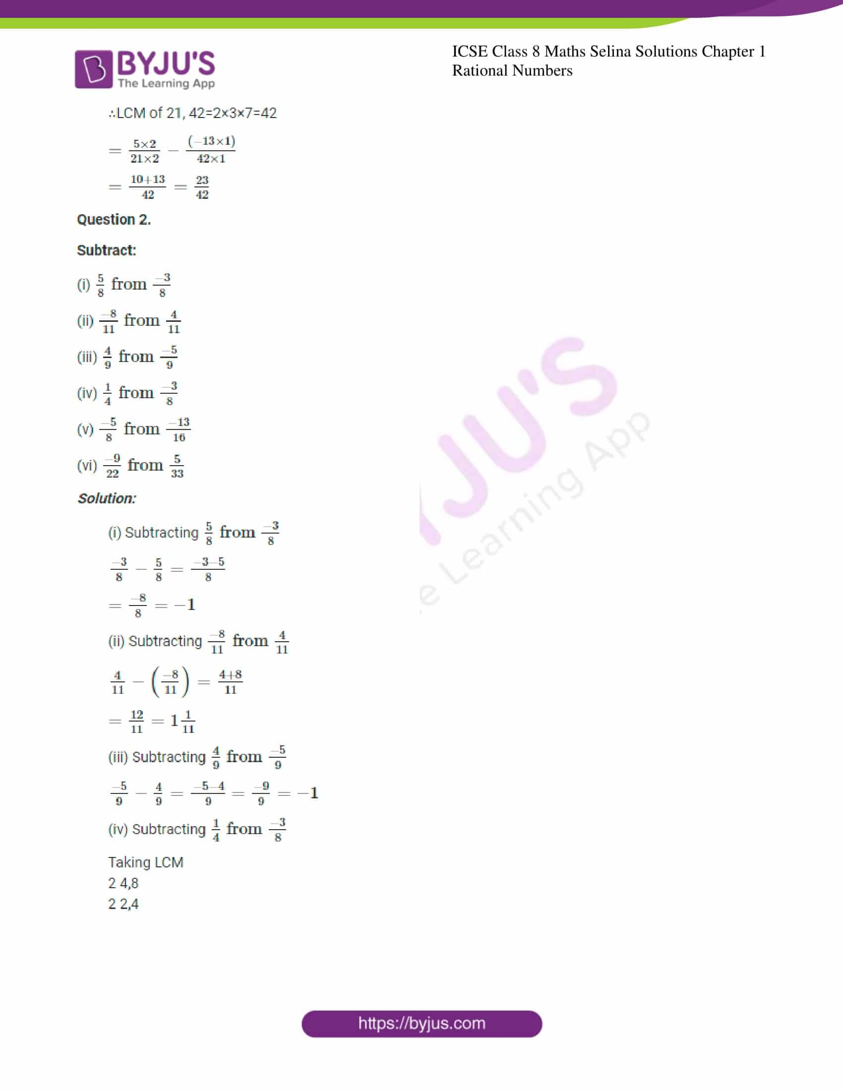 icse april7 class 8 maths selina solutions chapter 1 rational numbers 20