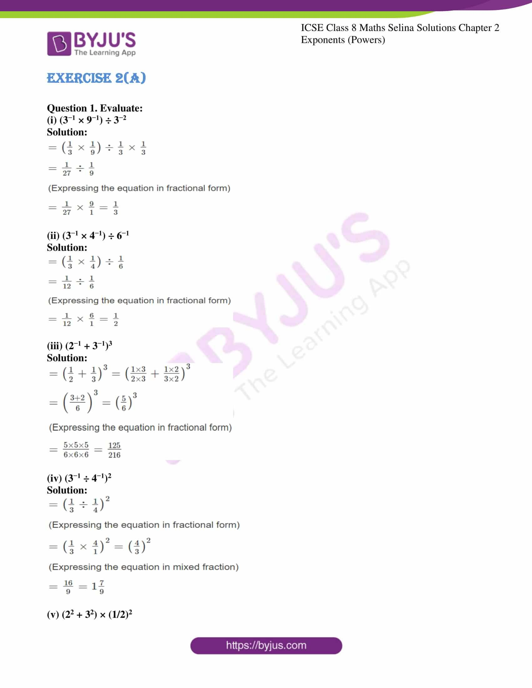 icse april7 class 8 maths selina solutions chapter 2 exponents powers 01